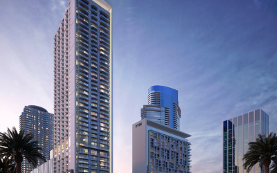 TOWER CRANE INSTALLED AT CONSTRUCTION SITE OF 43-STORY LUMA MIAMI WORLDCENTER