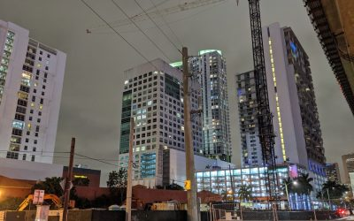 TOWER CRANE INSTALLED NEAR BRICKELL CITY CENTRE FOR VERTICAL CONSTRUCTION OF 24-STORY BUILDING WITH TWO HOTELS